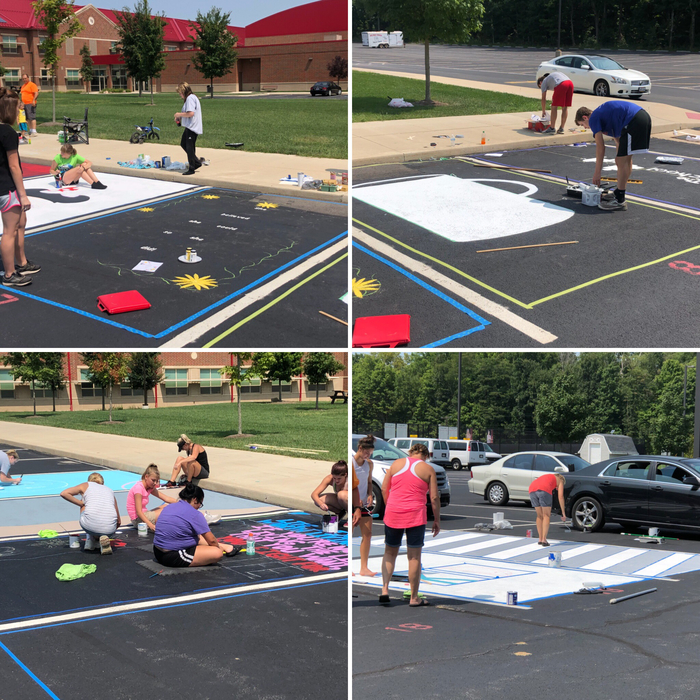 Students painting parking spots - 8.19.18