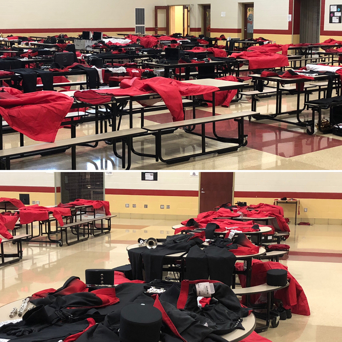 Cafeteria with band uniforms out - 10.13.18