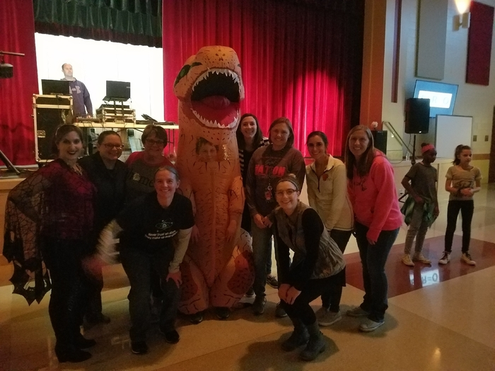 MS Teachers rockin with a T-Rex
