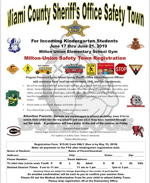 M-U Safety Town Registration Form Image