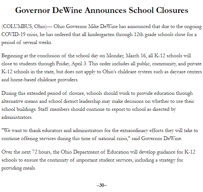 Gov. DeWine School Closures