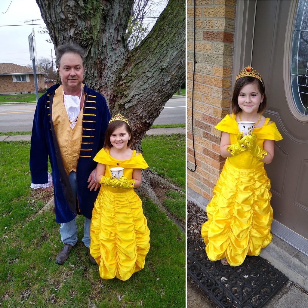 Wearing costumes from Father-Daughter Dance - 4.5.2020