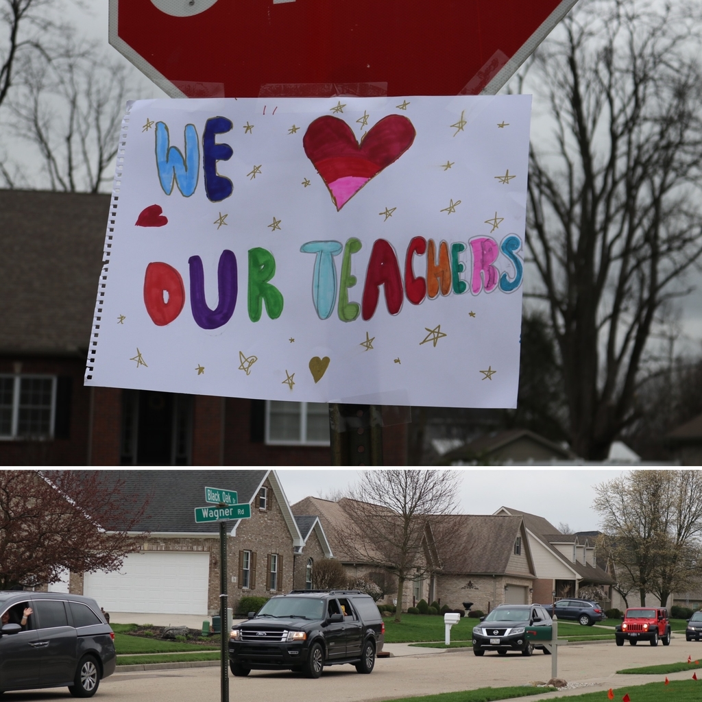 Parade line and we love our teachers poster