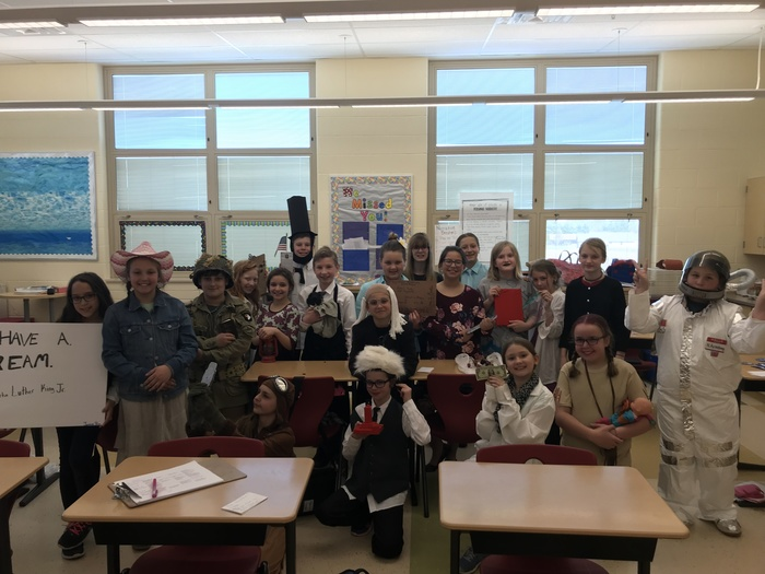 Mrs. Freisthler's 5th grade students dressed and ready to present about famous people from history.
